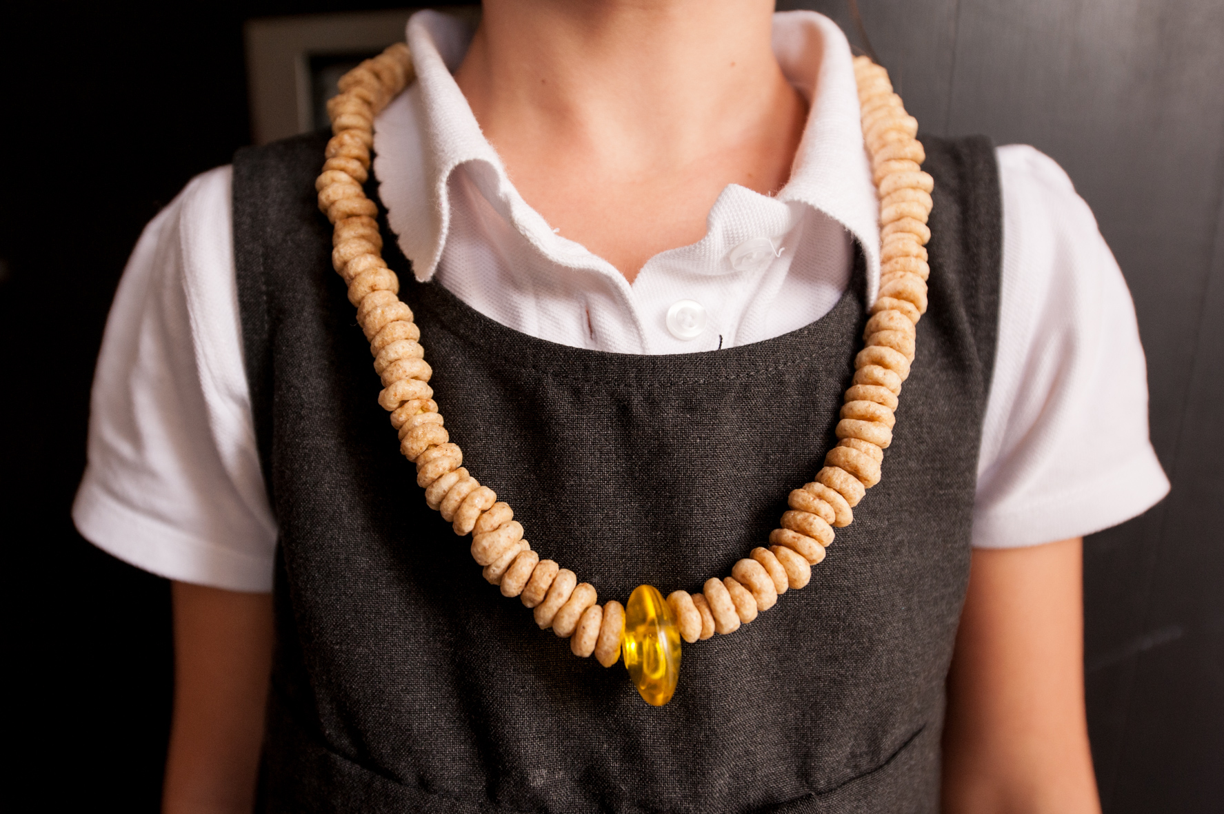 Toddler activities at home - finished cheerios necklace