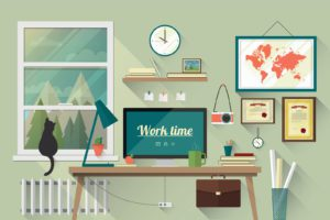 Image of working from home office