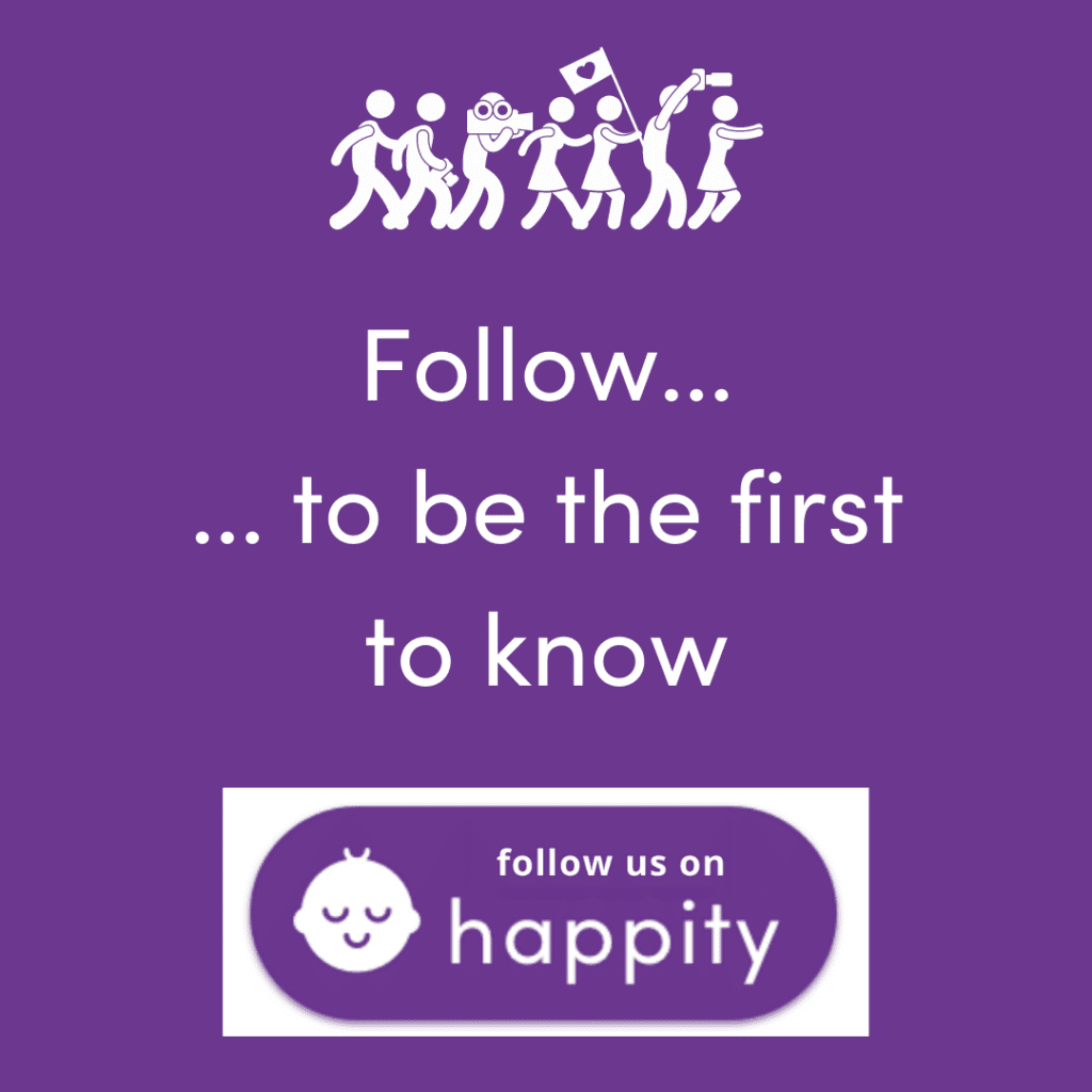 follow us on Happity