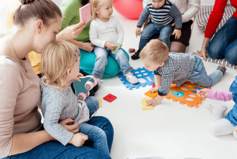 Mums and babies at a baby class