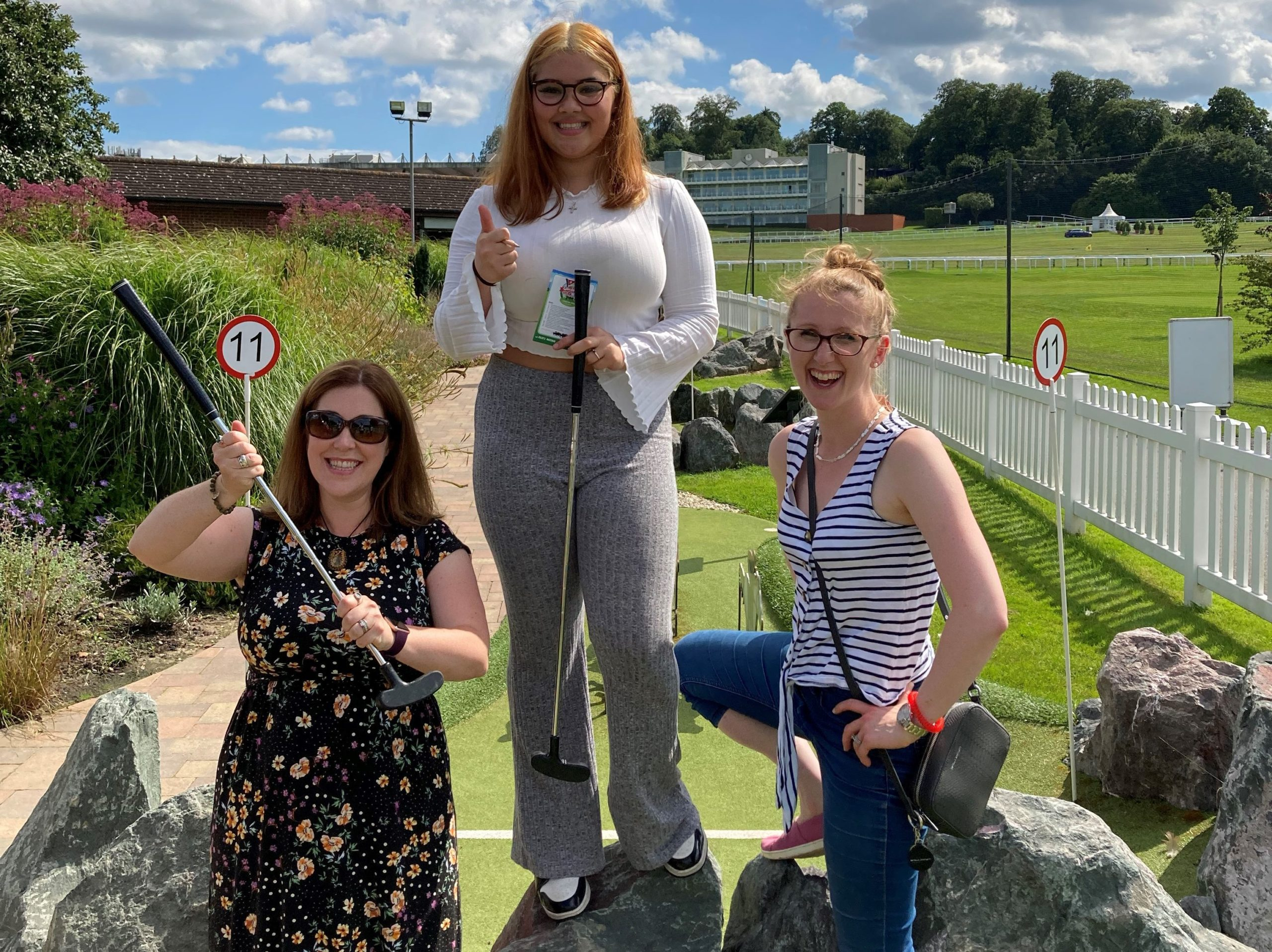 (From Left to Right) Lisa, Kayleigh and Emily from Happity (Baby and Toddler Classes site) stand as mini golf victors!
