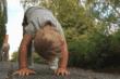 toddler bending down